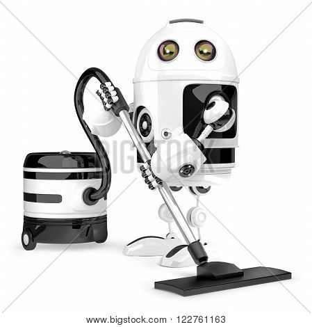 Robot cleaner. Technology concept. Isolated over white. Contains clipping path