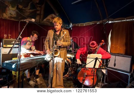 AMSTERDAM, NETHERLANDS - APRIL 27: Undefined music band plays jazz on King's Day on April 27, 2015. King's Day is a national holiday in the Kingdom of the Netherlands celebrated on 27 April.
