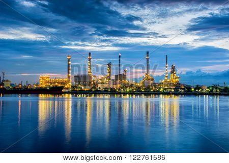 Twilight scene of oil refinery plant, Sunrise scene.