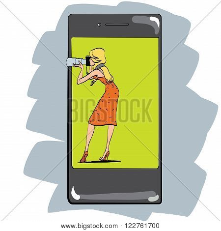 The girl takes photos with her phone. Photo app for the smartphone. The photographer on the screen