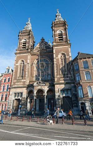 AMSTERDAM-APRIL 27: Church of St. Nicholas in the city centre district of Amsterdam on April 272015 the Netherlands. Church of St. Nicholas is the city's major Catholic church.