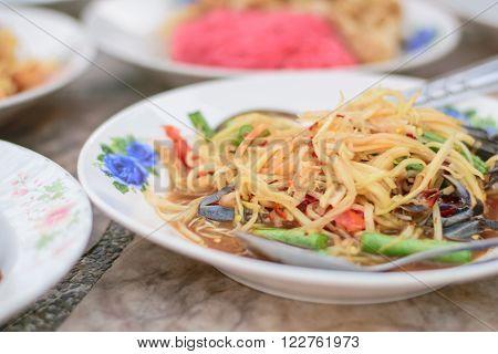 papaya salad Thai cuisine spicy delicious Thia food