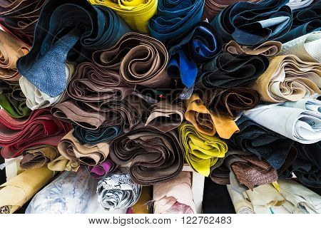 Color Palette Of Genuine Leather Material.