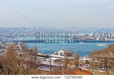 ISTANBUL, TURKEY - MARCH 30, 2013: Nice view of Istanbul and Galata Bridge that crosses the Golden Horn, Istanbul, Turkey