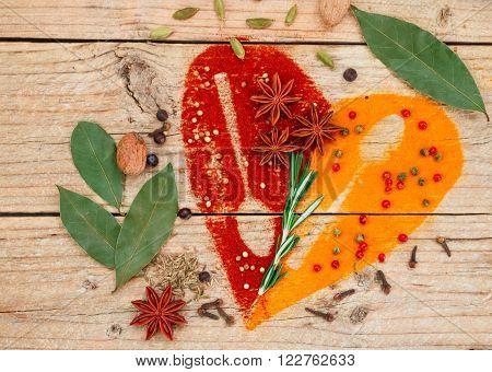 Heart of spices and seasonings. Turmeric paprika cumin rosemary garlic cardamom nutmeg clove Bud Bay leaf star anise green and pink pepper juniper coriander