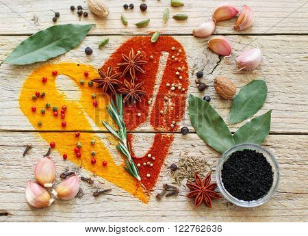 Heart of spices and seasonings. Turmeric paprika cumin rosemary garlic cardamom nutmeg clove Bud Bay leaf star anise green and pink pepper juniper coriander Nigella