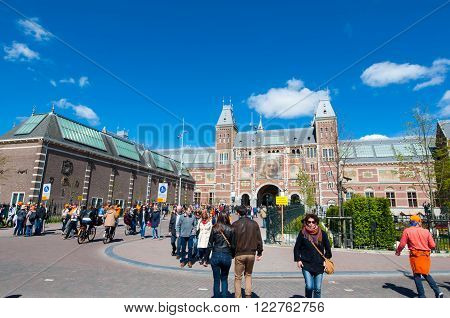 AMSTERDAM-APRIL 27: The Rijksmuseum during King's Day on April 27 2015 the Netherlands.The Rijksmuseum is a Netherlands national museum dedicated to arts and history in Amsterdam.
