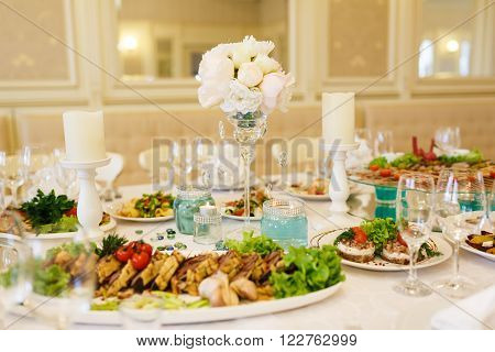 The banquet table with restaurant serving before a wedding banquet