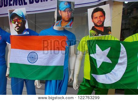 HYDERABAD,INDIA-MARCH 19: Mannequins in sports wear of Indian and Pakistan during ICC T 20 world cup being played in front of clothes store on March 19,2016 in Hyderabad,India.