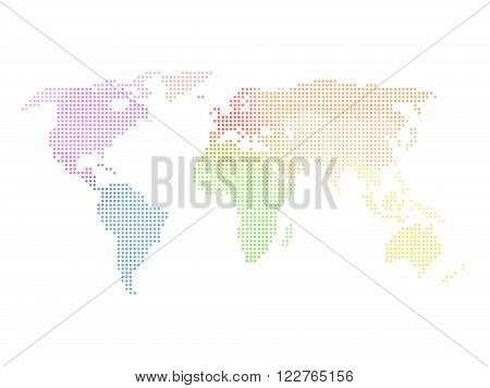Dotted world map. Multicolored map on white background. Vector illustration made of small circles.