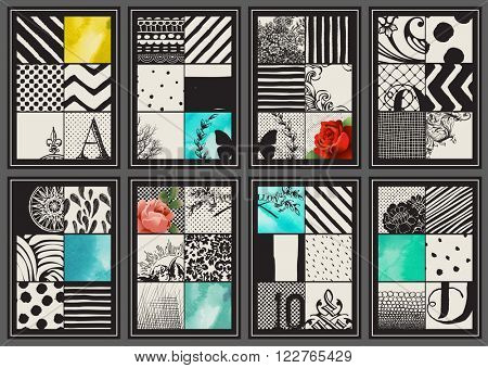 Set of Vintage Creative Cards - Hand drawn hipster collages and textures made with ink and watercolor. Abstract retro patterns for artist cards, flyers, banners, placards, posters and brochure designs