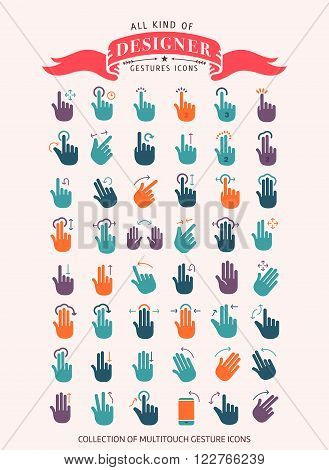 50 gesture line icons  web design and user interface in applications