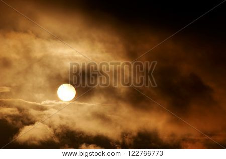 Image of the dark storm clouds and setting sun