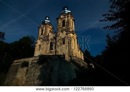 Ruins of the Church of the Visitation at the full moon, Skoky, Czech republic