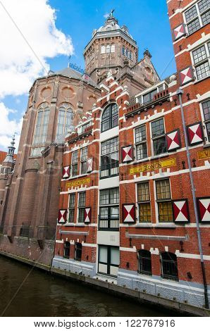 Amsterdam-April 27: Back-side of St. Nicolas church on April 272015 in Amsterdam the Netherlands.
