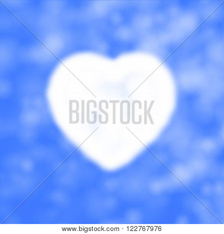 Vector illustration of cloud in the form of heart in the sky. Background of the heavens and the heart. Air heart.