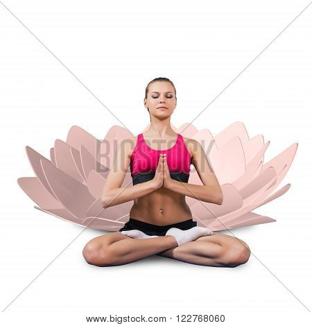Young woman sitting in yoga pose and meditating isolated on white