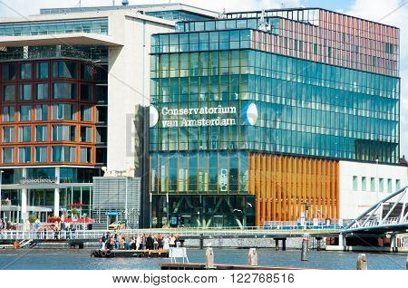 AMSTERDAM-APRIL 27: Conservatorium van Amsterdam at the Oosterdokseiland near Amsterdam Central Station on April 272015. The Conservatorium van Amsterdam is the largest music academy in Netherlands.