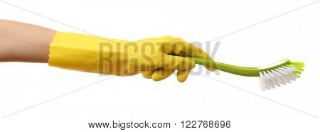 Female hand holding toilet brush, isolated on white
