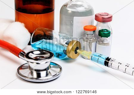 Medical Ampules, Bottles, Pills And Syringes, Isolated On White.