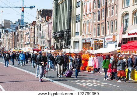 AMSTERDAM, NETHERLANDS - APRIL 27, 2015: Rokin during the King's Day on April 27, 2015 in Amsterdam. Rokin is a major street in Amsterdam the Netherlands.