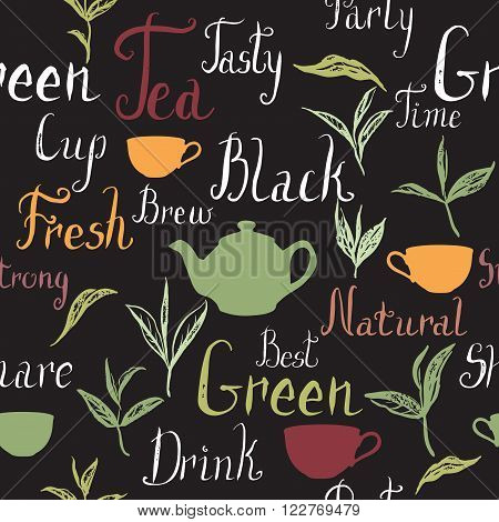Seamless pattern based on ink painted tea leaves, branches and tea related hand painted words. Brush lettering text. Great for cafe, bars, tea ads, wallpaper, wrapping paper.