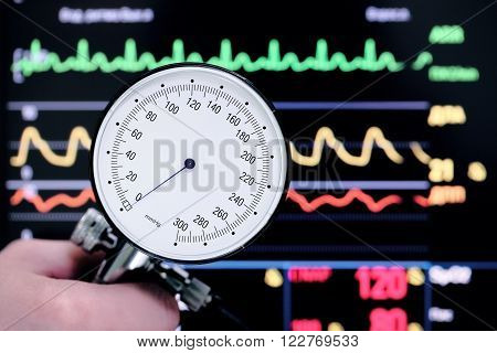 Watching the ECG and blood pressure of patient