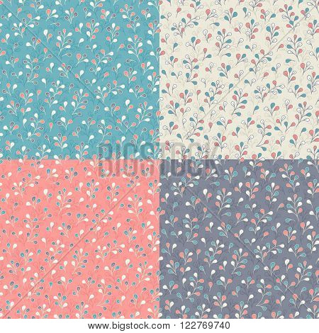 Four matching floral patterns with cute branches and leaves. Seamless vector background. Vintage colors and style.