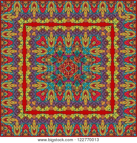 Bright colored handkerchief with abstract pattern silk scarf or shawl.