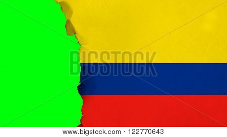 Flag of Colombia, Colombian Flag painted on paper texture