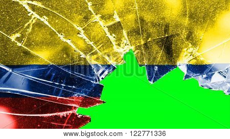 Flag of Colombia, Colombian Flag painted on broken glass
