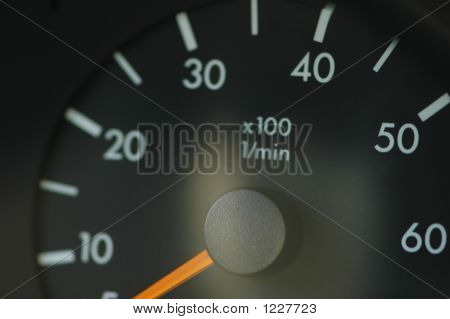 Close Up On The Black Car Speedmeter