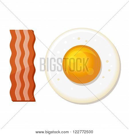 Fried Egg and Slices of Bacon. Luncheon Icon. Vector illustration