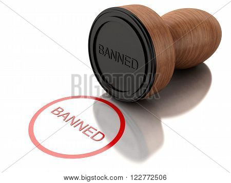 3D Illustration. Stamp banned with red text. Isolated white background.