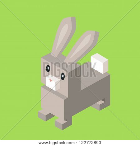 Wild animal hare, gray rabbit isometric 3d. Isolated hare zoo, rabbit nature, wildlife flat animal  icon, forest wild animal vector illustration on green background
