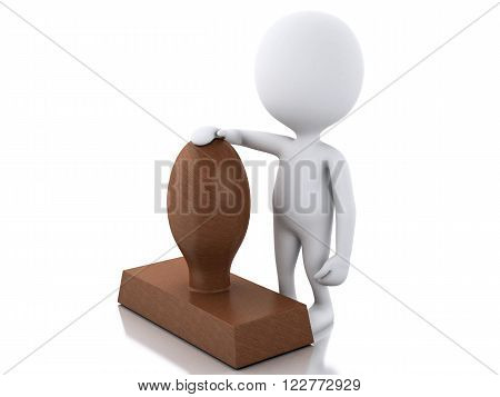3D Illustration. white people with seal. Isolated white background.