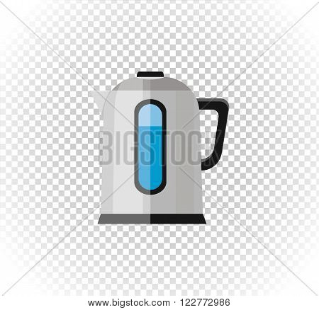 Sale of household appliances. Electronic device water kettle logo. Home appliances in flat style. Water kettle, electrical appliances, silver kettle, vector water boiler