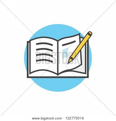 Back to school icon book pencil. School supplies, book and pencil, education school, science study back to school, learning and reading notebook, school back vector illustration