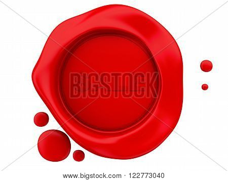 3D Illustration. Red wax seal sale. Isolated white background.