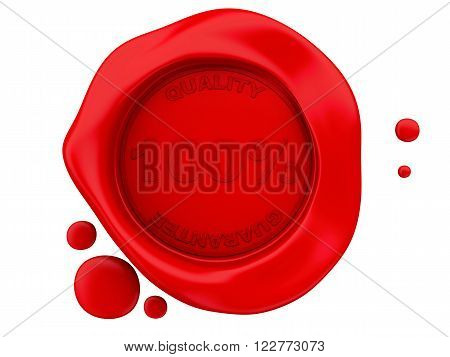 3d renderer image. Red wax seal with 100%. Isolated white background.