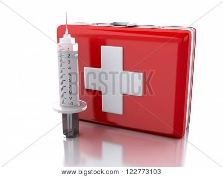 3d renderer image. First aid kit and syringe. Medicine concept. Isolated white background.