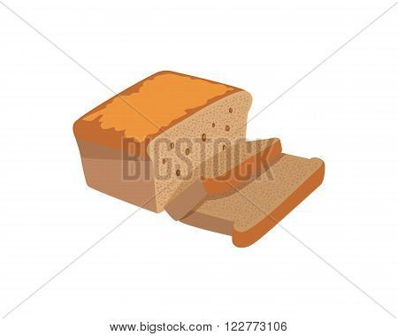 Bread design flat isolated white. Bakery and bread isolated, food healthy, meal loaf and toast breakfast, nutrition bake and baguette natural and snack cereal, lunch culinary, vector illustration