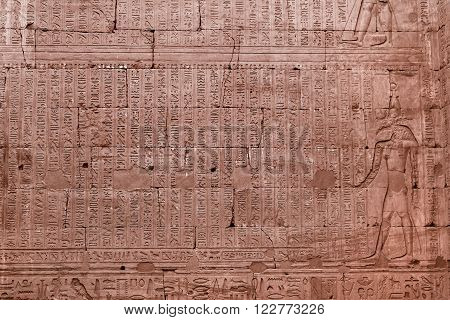 KARNAK, EGYPT - FEBRUARY 5, 2016: Cartouches and heiroglyphs written on the walls in Ancient Egypt at Karnak Temple