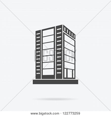 Skyscraper logo building icon. Black building and isolated skyscraper, tower and office city architecture building, house business building, apartment office vector illustration