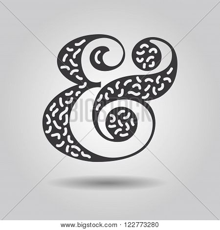 Abstract ampersand sign with texture and drop shadow on gray gradient background
