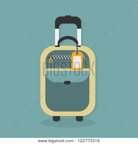 Abstract traveling carry on bag with empty hanging travel tag