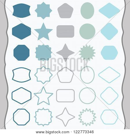 Matte blue and teal silhouette and outline basic shapes emblems icons set