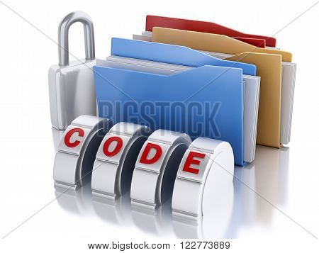 3d Ilustration. Folder lock with padlock and password combination. Security concept. Isolated background