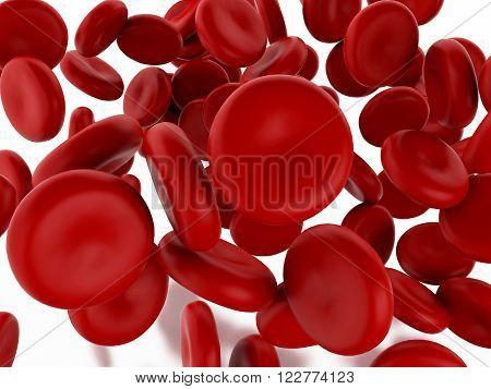 3d renderer image. Red blood cells. Medicine concept. Isolated background.