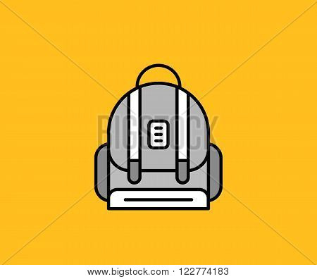 Backpack design flat icon isolated. School bag and kids backpack, isolated icon back  pack, education and study school, schoolbag luggage, rucksack vector illustration on yellow background